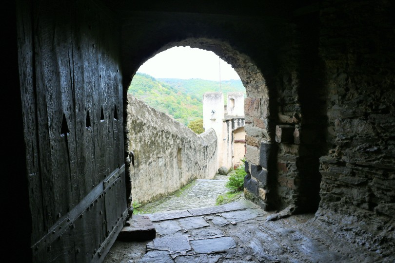 Medieval castle walkway to walls