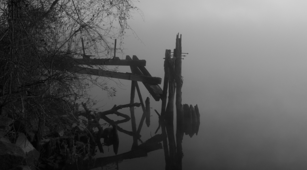 Black and White River Fog - Click To Enlarge