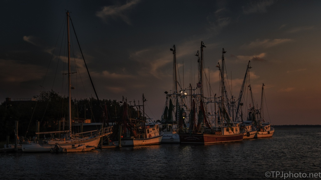 Shrimp Boats Tied For The Night - Click To Enlarge