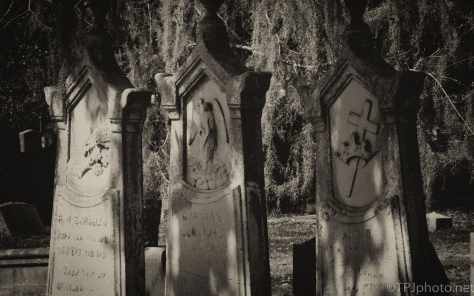 Different Styles Of Black And White, A Cemetery - click to enlarge
